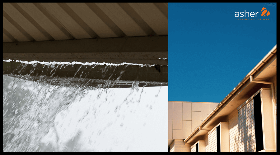 Graphic comparing bad gutters and good gutters