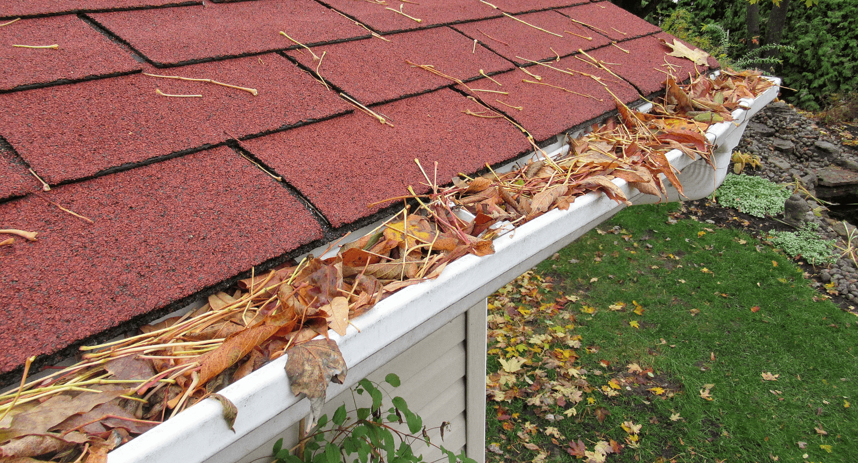 Image of gutters clogged with debris