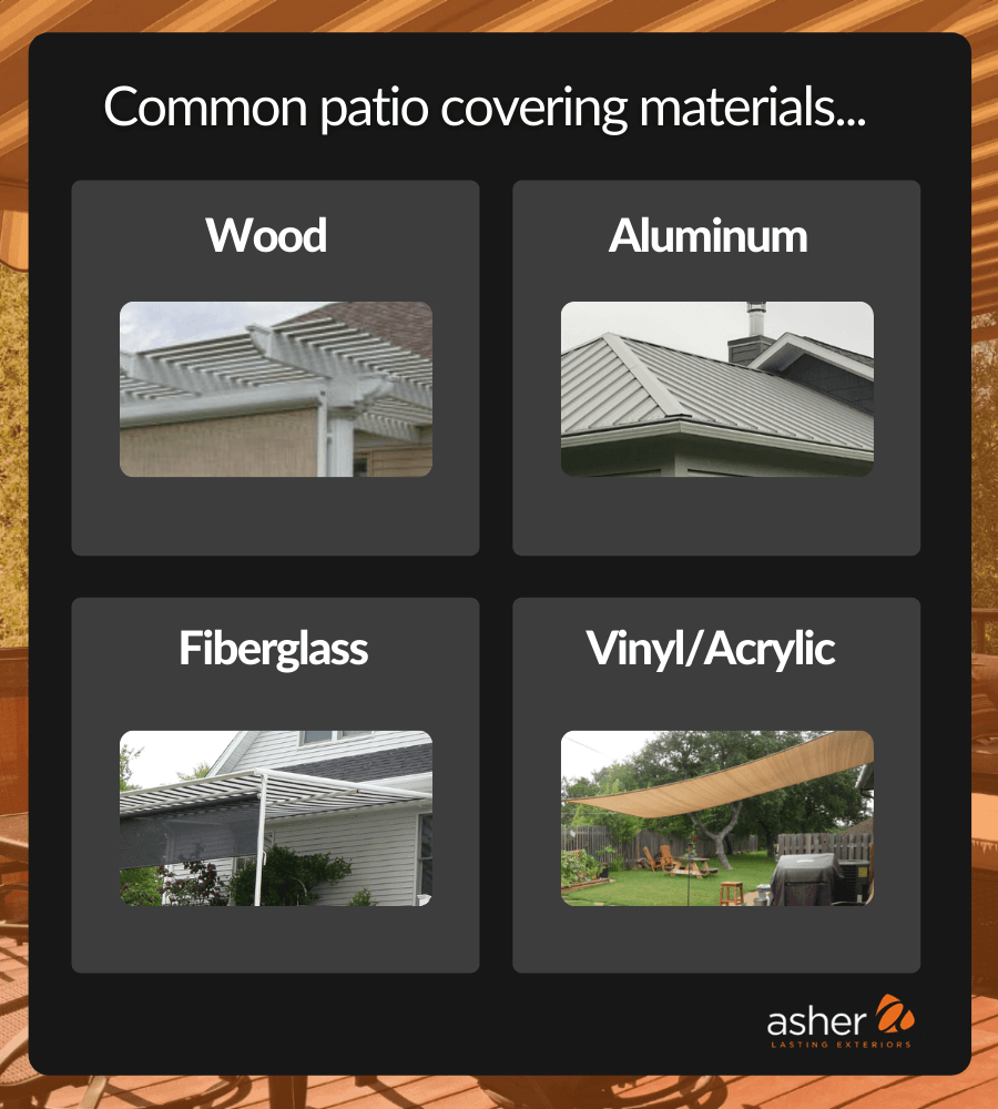 Infographic representing patio cover materials