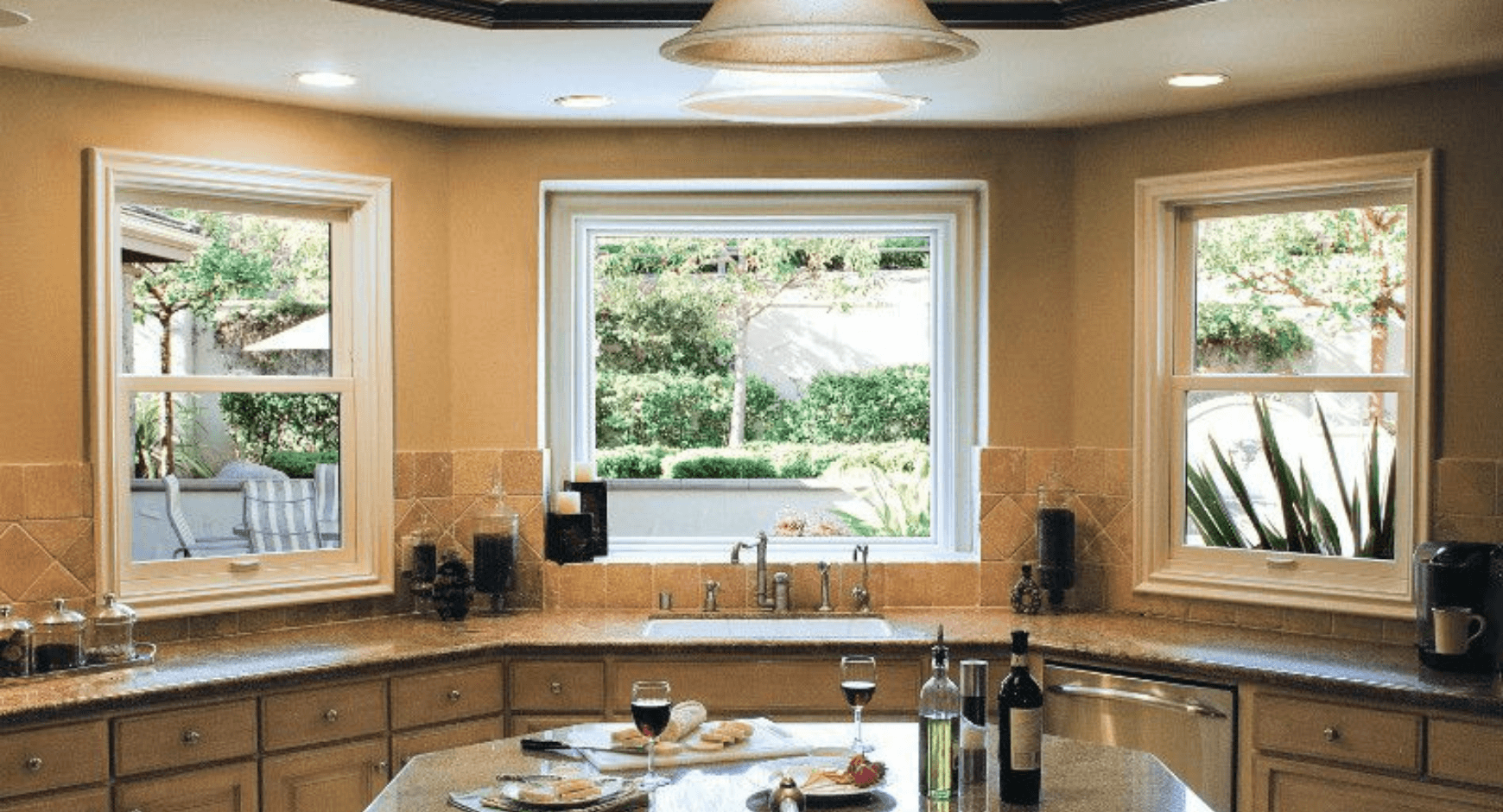 Looking out the window of a beautiful kitchen