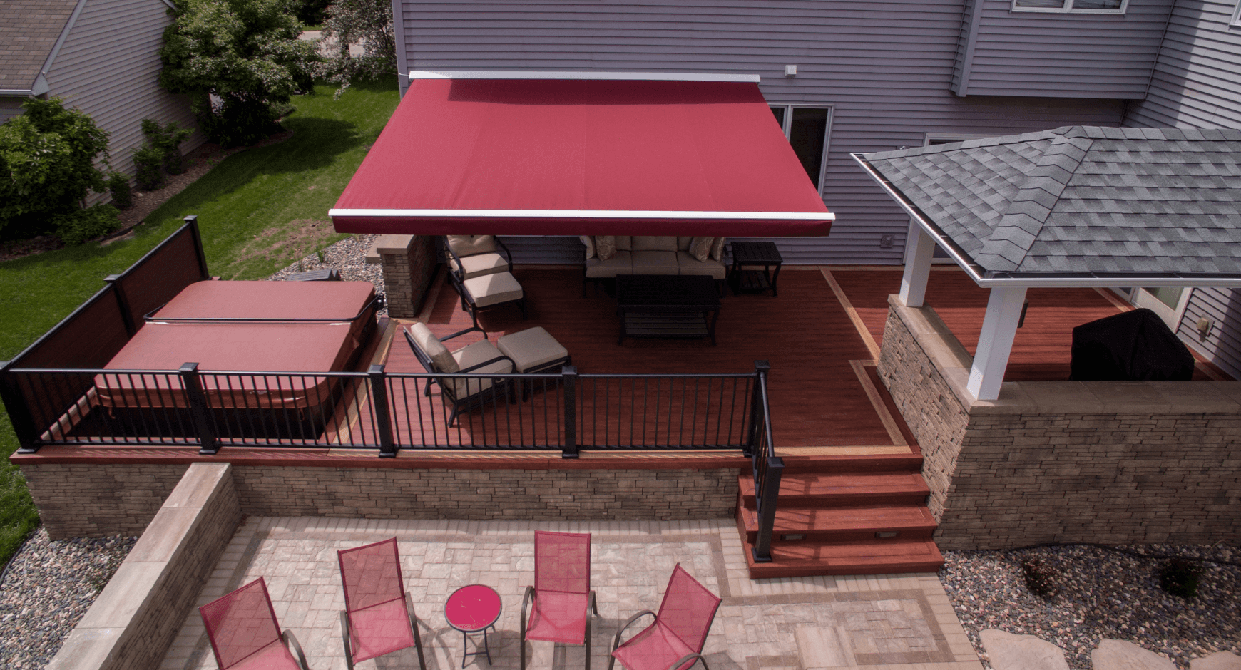 Beautiful red retractable awning seen from above