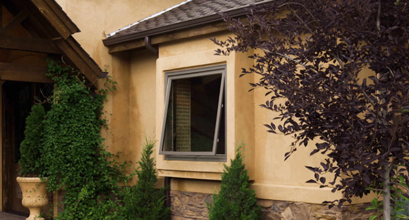 image of an awning window from the outside