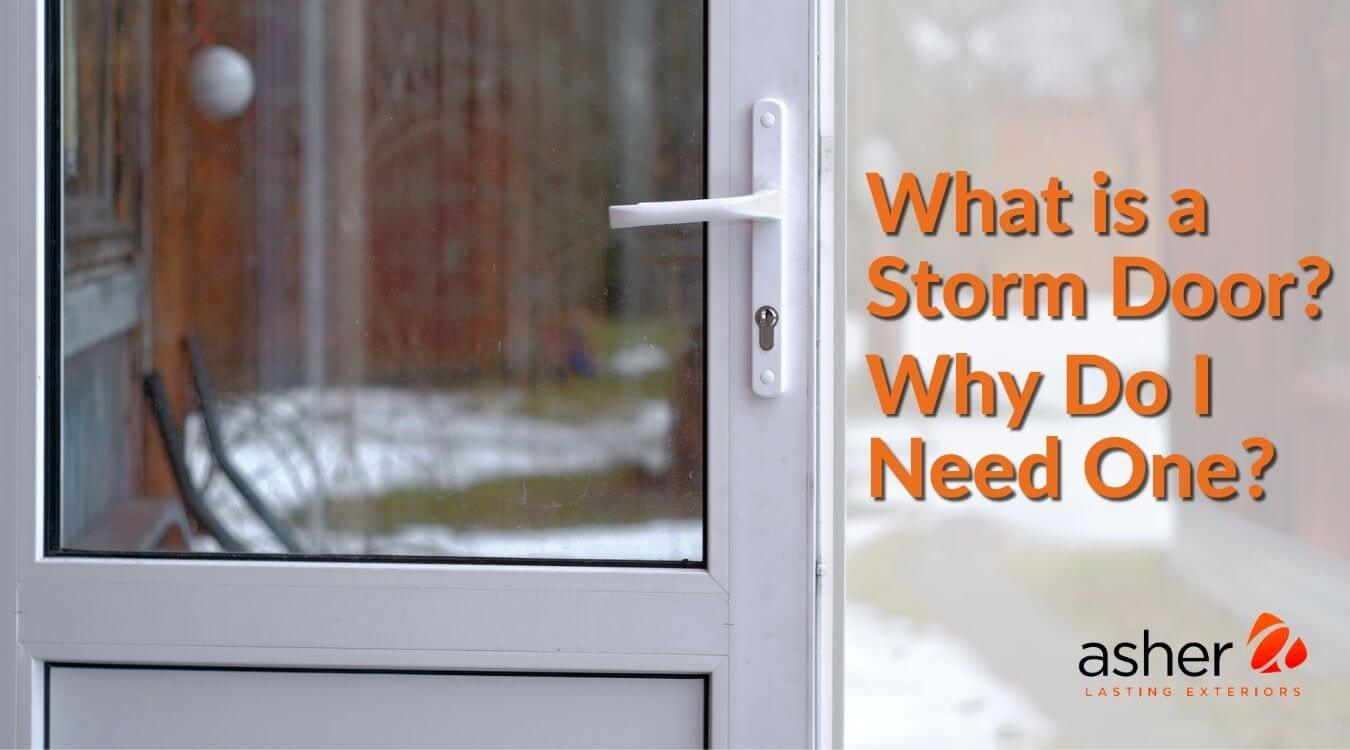 Close up of storm door on a winter day